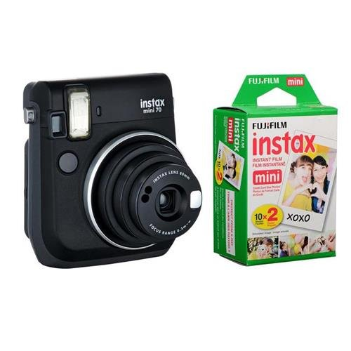 Fujifilm instax mini 70 Instant Film Camera, Midnight Black – Bundle With Fujifilm Instax Mini Film Twin Pack