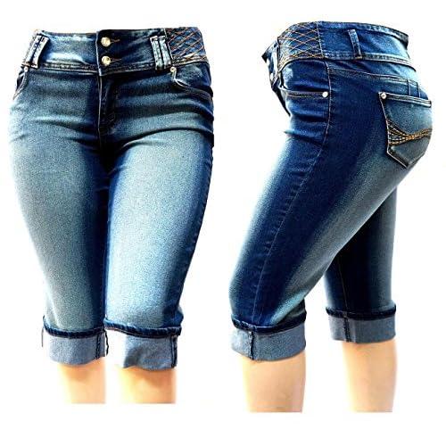 07173ad3e4 free shipping LA CHULA WOMENS PLUS SIZE DARK BLUE CAPRI Acid Wash denim  jeans Stretch HI
