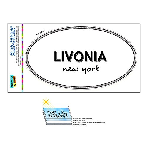 Graphics and More Euro Oval Window Bumper Laminated Sticker New York NY City State Law - Nas - (City Livonia)