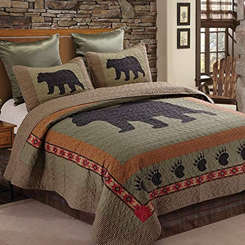 - Duke Imports Virah Bella Collection - Phyllis Dobbs - 3 Piece Bear and Paw Patchwork Cabin Lodge Quilt Set - Full/Queen Size