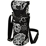 Picnic at Ascot Insulated Wine/Water Bottle Tote with Shoulder Strap -  Night Bloom