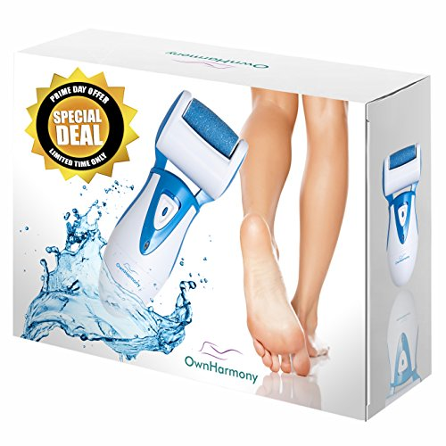 Shower Foot File Smooth (Electric Callus Remover: Rechargeable Electronic Foot File CR900 by Own Harmony(Tested Most Powerful) Best Pedicure Tools w 3 Rollers-Reg & Extra Coarse, Professional Pedi Feet Care for Cracked Heels)