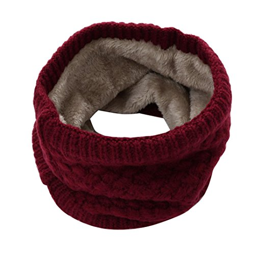 Kimloog Women Man Double-Layer Fleece Lining Winter Warm Neck Circle Scarf Knitted Cotton Infinity Scarves (Wine)