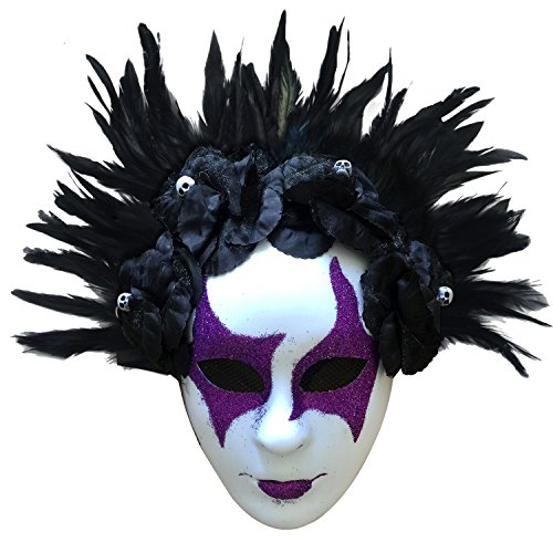 L'VOW Feather Full Face Ghost Skull Mask Halloween Costume for Women Men (Style Five) ()