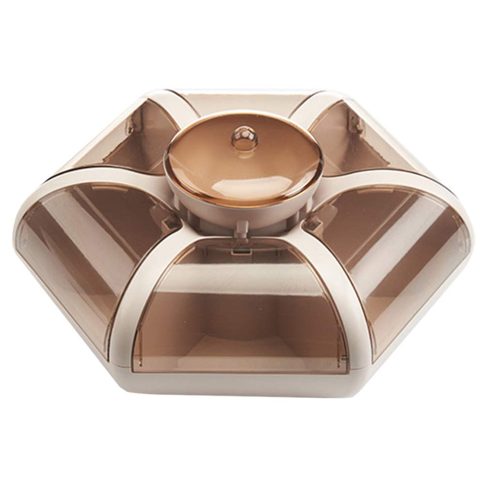UPKOCH Dry Fruit Plate Appetizer Serving Tray Flower Shaped Compartment Divided Serving Platter Candy Dish Desserts Fruits Holder With Lid