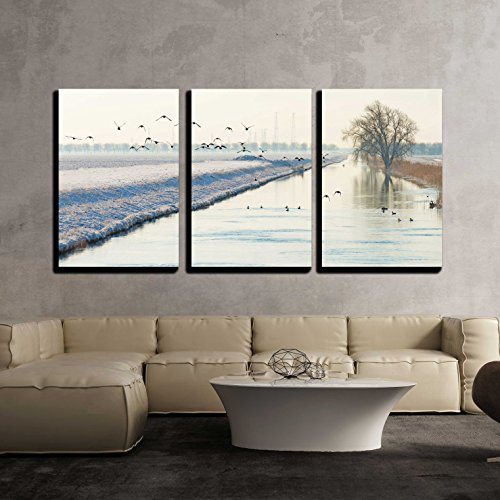 Birds Flying over a Snowy Canal in Winter x3 Panels