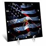 3dRose Flags Of States Unique - Image of Flag Of North America In Grunge Style - 6x6 Desk Clock (dc_262520_1)