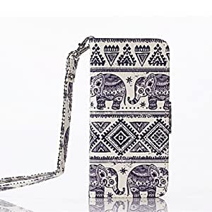 YXF Elephants Pattern PU Full Body Case with Card Slot and Stand for iPhone 5/5s