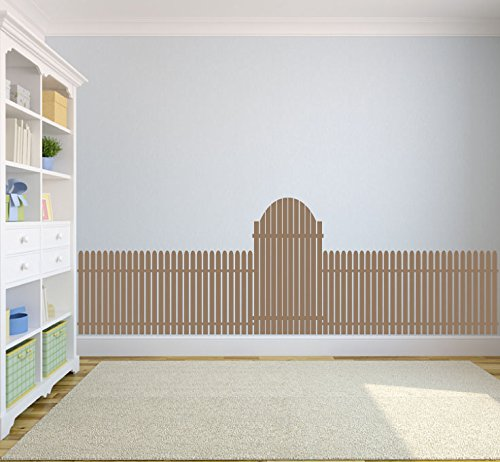 Picket Fence Twin (Picket Fence with Gate Silhouette Faux Headboard Vinyl Wall Decal Sticker Graphic)