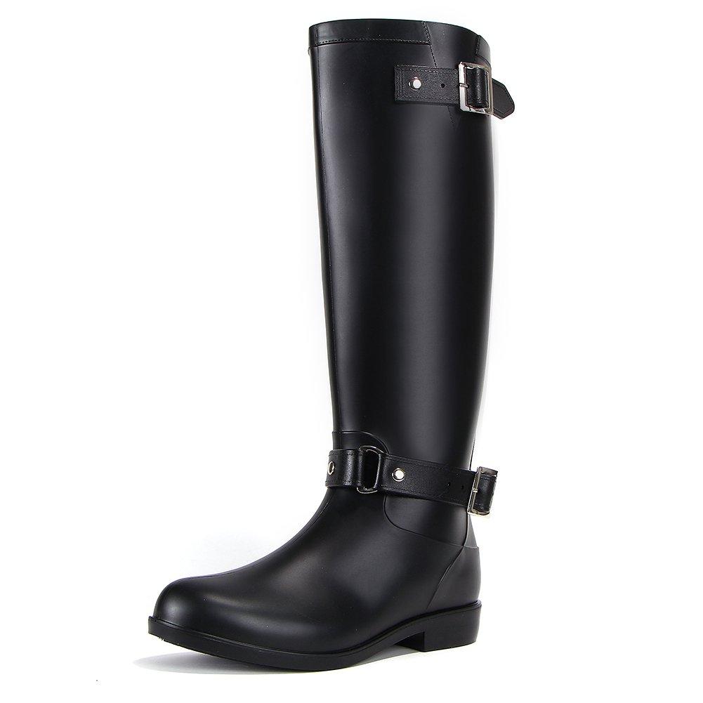 17KM Womens Black Tall Rain Shoes Back Adjustable Waterproof Wellies Rain Wellington Boots B07BRHWF5L 8.5 B(M) US Black