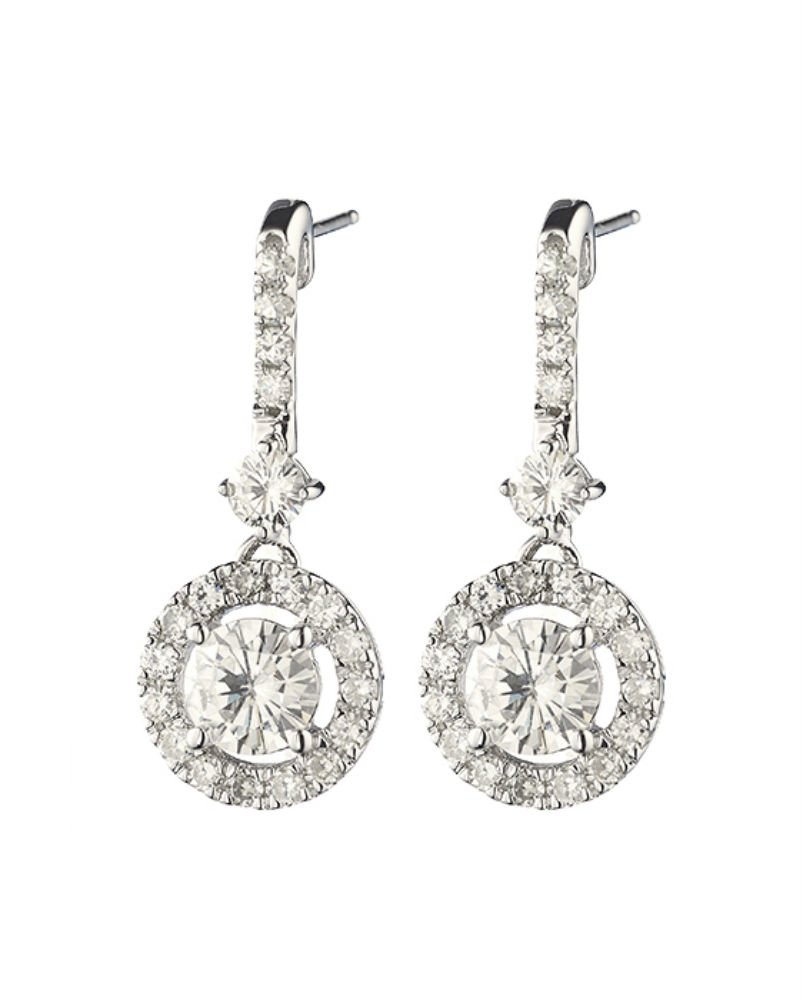Forever Classic 5.5mm Round Moissanite Drop Earrings, 2.03cttw DEW By Charles & Colvard
