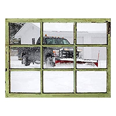 Incredible Craft, Window View Wall Mural Snowplow Working in a Winter Morning Vintage Style Wall Decor Peel and Stick Adhesive Vinyl Material, With Expert Quality