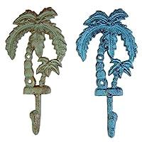 Palm Tree Cast Iron Wall Hooks 8 inch (Set of 2)