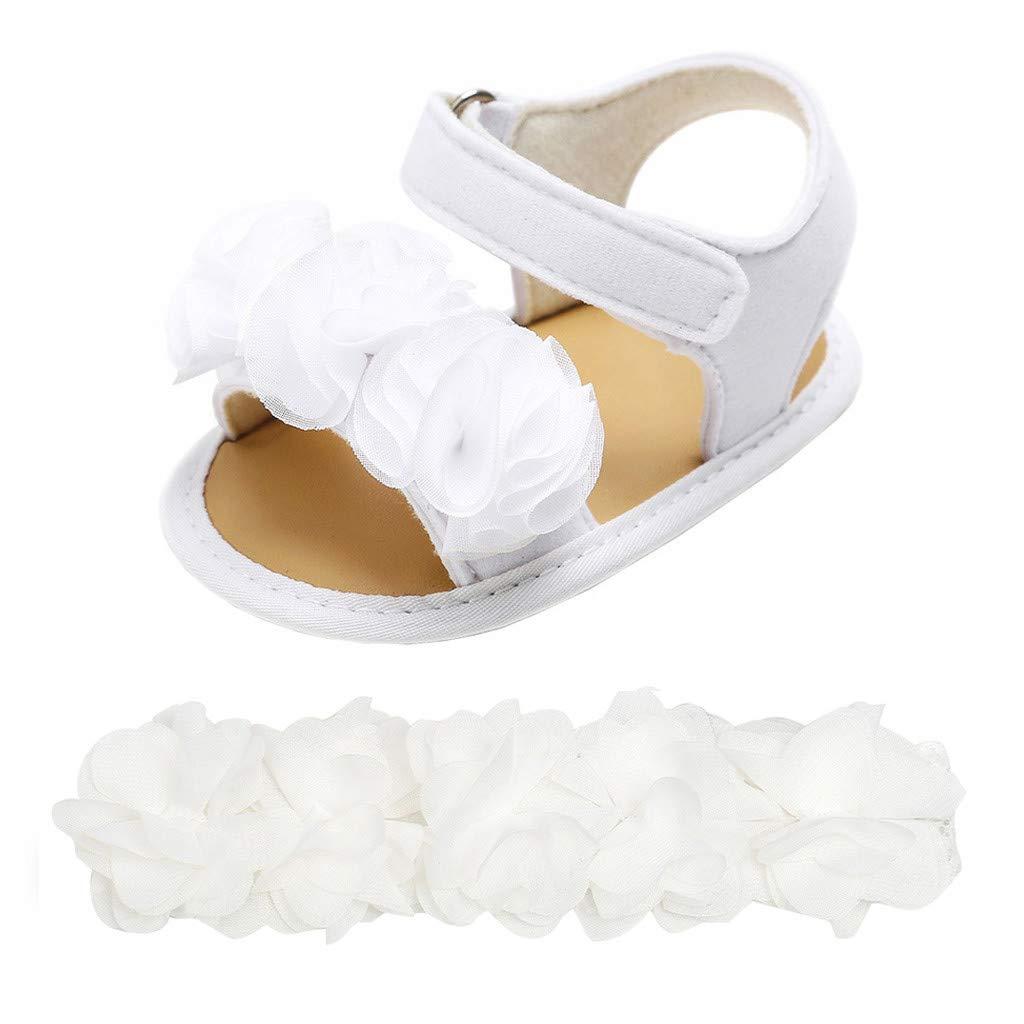 B/éb/é Fille Chaussures Ballerines Dentelle+Bandeau Fleur Ensemble Anniversaire Bapt/ême C/ér/émonie Bambin bebe 0-18mois Semelle Souple Anti-d/érapant Princesse Chaussures