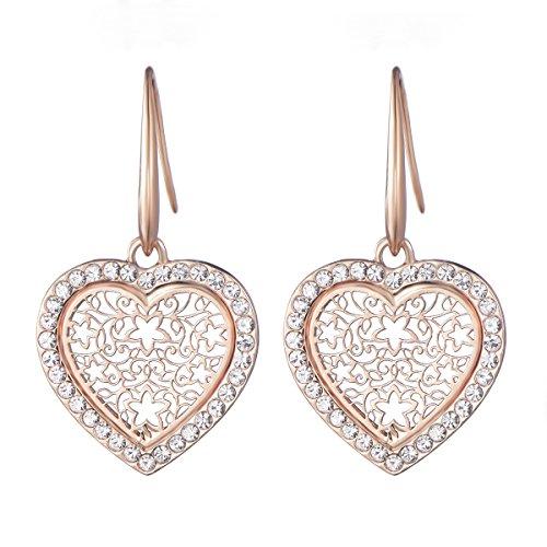 Dangle Earring for Women Lucky Love Heart Drop Earring Novelty Shining Rhinestone Earring Hoop Earring with CZ Crystal (Rose Gold Love Heart)