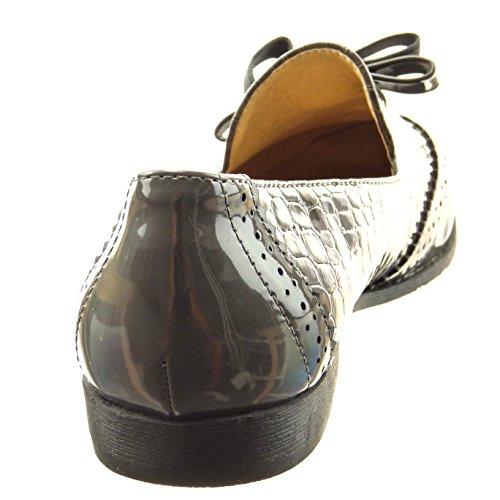 Sopily - Zapatillas de Moda Mocasines Tobillo mujer piel de serpiente nodo patentes Talón Tacón ancho 2 CM - Gris