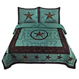 Western Peak Texas Star Horse Western Style 3 Piece Quilt Set Bedspread (Turquoise Star, King)