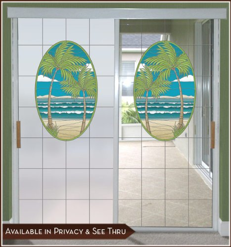 (Island Oasis Privacy Window Film Door Panel - Lite Frosted Background 24inch x 86inch Left)