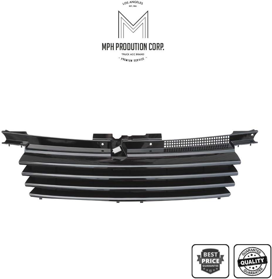 MPH Autoparts Black Horizontal Front Hood Bumper Grill Grille ABS For 1999 2000 2001 2002 2003 2004 2005 99-05 Volkswagen Jetta//Bora MK4