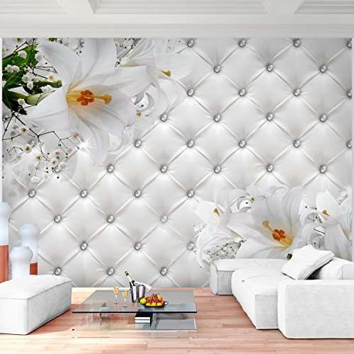 Fototapete Blumen 3D Lilien Weiß 396 x 280 cm Vlies Wand Tapete ...