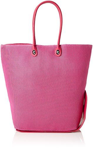 ONE BAG Handtasche SHOPPER mit wechselbaren Henkeln und Magnetverschluss ist klein zusammenfaltbar mit einzigartigem Druckknopfsystem Fuxia