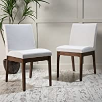 Katherine Mid Century Modern Light Beige Fabric/ Walnut Finish Dining Chair (Set of 2)