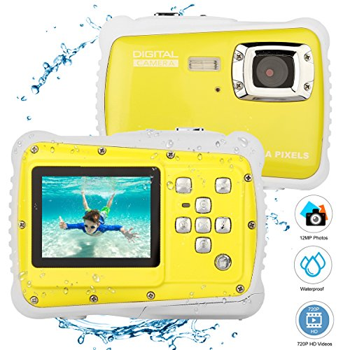 BYbrutek Kids Camera, 12MP HD Children Underwater 3M Waterproof Action Camera Camcorder, 2-Inch LCD, 4X Digital Zoom, 5 MP CMOS Digital Camera (Yellow) by BYbrutek