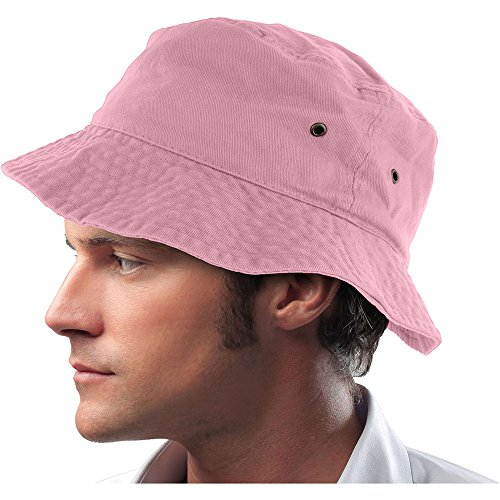 Mens 100% Cotton Fishing Hunting Summer Bucket Cap Hat (S/M, Light Pink)
