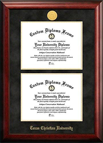 Texas Christian University Double Degree Diploma Frame (8.5 X 11) by Diploma Frame Deals