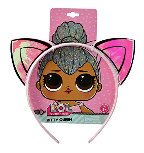 LOL Surprise Kitty Queen Glitterati Club Pink Vinyl Flexible Headband w/ 2 Glossy Cat Ears Character Hair Accessory Durable Headpiece for Little Girls / Teens - L.O.L. Signature Collection ()