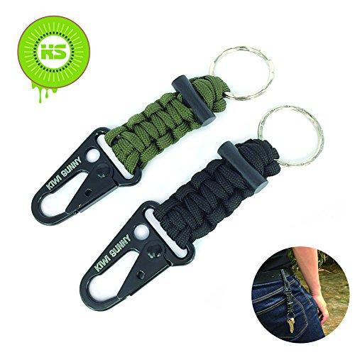 KIWI SWEET 2 Stücke Survival Überleben Paracord Schlüsselanhänger mit Karabinerhaken und Feuerstein Feuerstarter, Grün schwarz