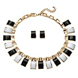 """Palm Beach Jewelry Black White Simulated Crystal Yellow Gold Tone Necklace Earrings Set 16"""""""