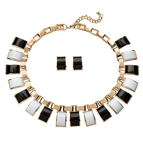"""Palm Beach Jewelry Black and White Simulated Crystal Yellow Gold Tone Necklace and Earrings Set 16"""""""