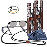 Tortuga Straps BRAIDZ Black 2pk- Adjustable Leather Glasses Strap & Sunglass Straps | Eyewear Retainer for Small & Large glasses | Eyeglasses Strap Holder Securely Holds on Head or Neck