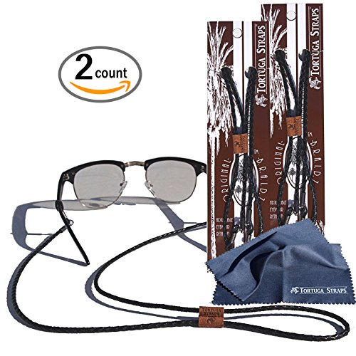 Tortuga Straps BRAIDZ Black 2pk- Adjustable Leather Glasses Strap & Sunglass Straps | Eyewear Retainer for Small & Large glasses | Eyeglasses Strap Holder Securely Holds on Head or Neck by Playa Vida
