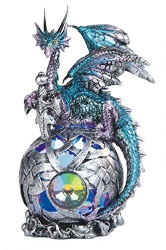 - StealStreet SS-G-71508 6-Inch Dragon with Sword on Light up Led Orb Statue Display Aqua