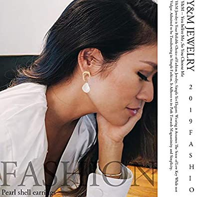 Pearl Drop Earrings 925 Sterling Silver Earpins for Allergic Ear Shell Conch Shape Earrings for Girls Women