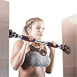 FEIERDUN Doorway Pull Up and Chin Up Bar Upper Body Workout Bar for Home Gym Exercise Fitness & 440 LBS (Blue, L28.3~36.2')