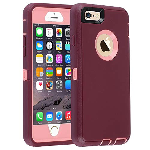 smartelf Case for iPhone 6 Plus/6s Plus Heavy Duty With Built-in Screen Protector Shockproof Dust Drop Proof Protective Cover Hard Shell for Apple iPhone 6+/6s+ 5.5 inch-Purple/Pink