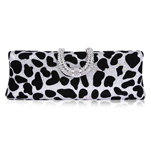 Damara Women Leopard Rhinestone Snap Case Evening Clutch Handbag,Silver