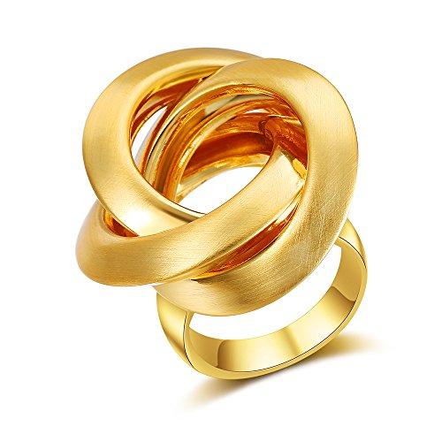 Mytys Golden Plated Brushed Matte Stainless Steel Circle Cross Design Modern Rings for Women Men Size 7