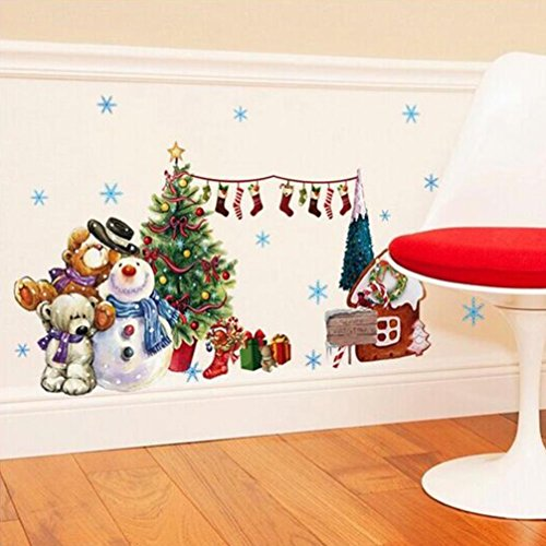 Tuscom Christmas Tree Xmas Gift Removable Wall Sticker Art Home Decor Decal (31.49x17.71 inch)