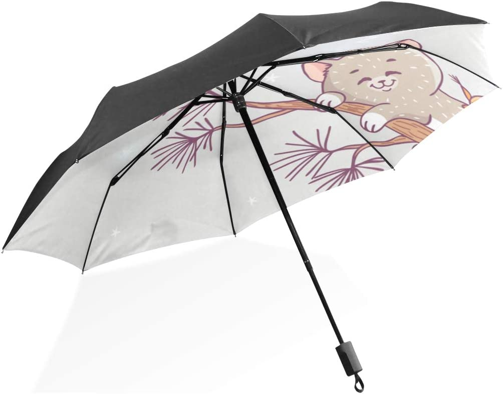 Girl Umbrella Amazing Illustration Cute Kitten Squirrel Sleeping Portable Compact Folding Umbrella Anti Uv Protection Windproof Outdoor Travel Women Tote Kids Umbrella