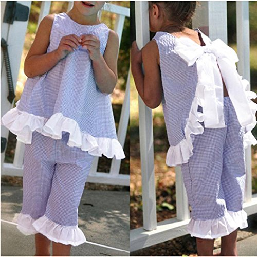 AMA(TM) 2PCS Toddler Kids Baby Girls Summer Cute Bow Vest Tops + Shorts Pants Outfits Clothes Set (3T, Purple) ()