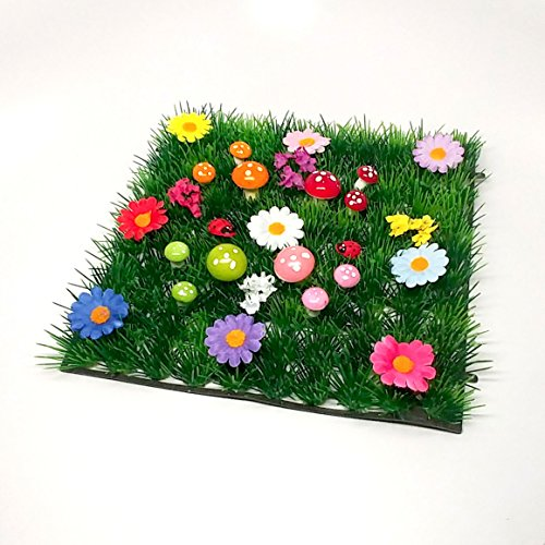 Pixie Glare Artificial Grass Mat for Fairy Garden with Mushrooms, Flowers and Plants (Dreamland Garden) ()