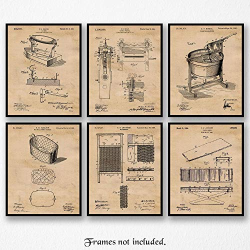 Original Laundry Room Patent Art Poster Prints, Set of 6 (8x10) Unframed Photos, Great Wall Art Decor Gifts Under 20 for Home, Office, Garage, Shop, Utilities Room, Student, Teacher, Decorator, Fan