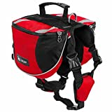 BUYITNOW Dog Backpack Harness Travel Outdoor Hiking Adjustable Pet Saddlebag for Medium Dogs, Red