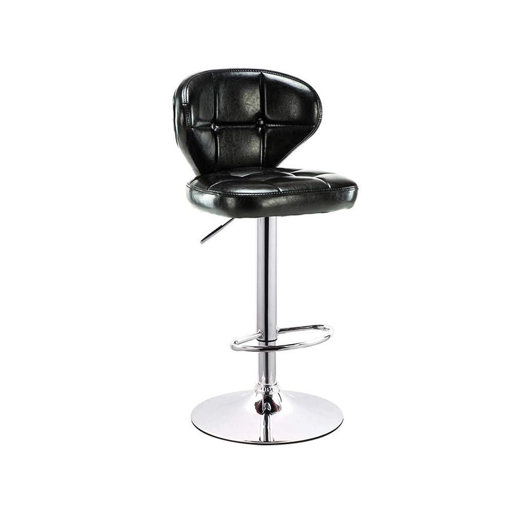 Fly Retro bar Chair Lift high Stool Modern Minimalist Cafe Chair Back bar Stool 3 Colors (Color : Black)