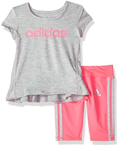 adidas Baby Girls Short Sleeve Tee and Capri Set, Grey Heather, 24M (Capri Clothes Girls Baby)