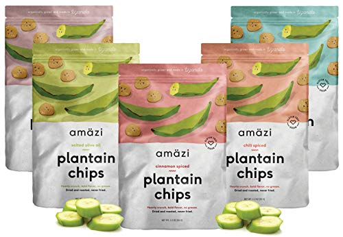 Amazi Dried & Roasted Plantain Chips Variety Pack – Olive Oil, Coconut Oil, Chili, Cinnamon & Cocoa Flavors – Fair Trade, Gluten-Free, Vegan Chips – Paleo Friendly Healthy Snacks – Variety Pack of 5